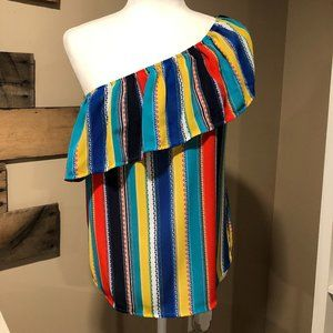 Lily White one-shoulder blouse